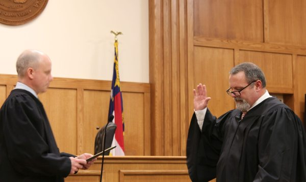 The Honorable Ted McEntire from Mitchell County was sworn in for his third term as Chief District Court Judge.