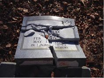 A gravestone in a family cemetary on Belview Mountain was damaged. Photo courtesy of Avery County Sheriff's Office
