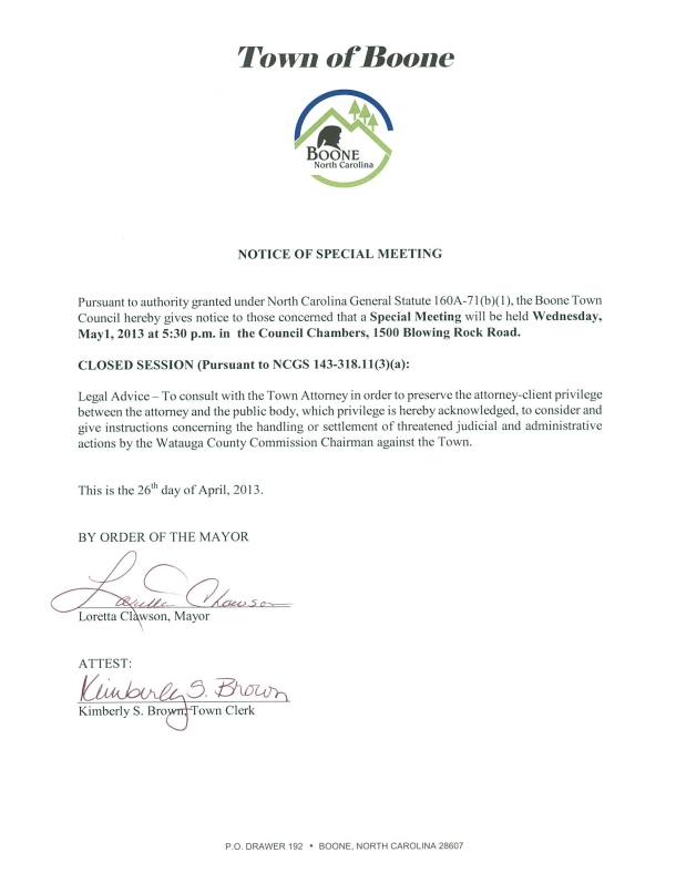 TownofBoone Special Meeting