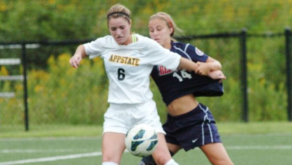 Jane Cline scored a goal in her season debut and helped the Mountaineers defeat Mercer, 2-1, on Sunday. Photo by Dave Mayo