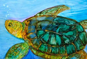 Turtle created with alcohol inks on Yupo paper.