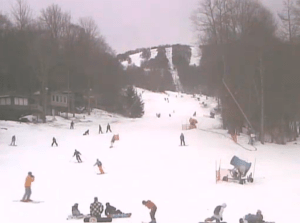 Skiers and snowboarders are out and about today thanks to some recent cold weather. Photo courtesy of Sugar Mountain Resort's base cam