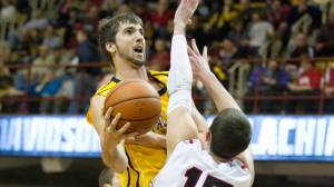 Nathan Healy scored a team-high 14 points and pulled down seven rebounds in his final collegiate game on Sunday evening. Photo by Tyler Buckwell and courtesy of Appalachian Sports Information