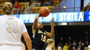 Raven Gary scored a career-high 19 points in Appalachian State's 72-67 loss to Chattanooga in the semifinals of the SoCon Tournament on Sunday. Photo by Dave Mayo and courtesy of Appalachian Sports Information