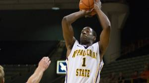 Tevin Baskin scored a team-high 18 points in Sunday's win at UMKC. Photo by Tyler Buckwell and courtesy of Appalachian Sports Information