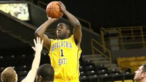 Tevin Baskin led the Mountaineers with 16 points in Wednesday's loss at College of Charleston. Photo by Rob Moore and courtesy of Appalachian Sports Information
