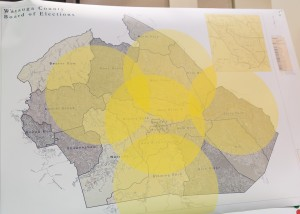 """Aceto's """"geographically centered"""" map of the early voting sites approved."""