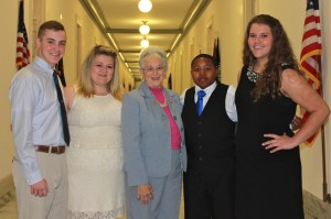 5th District student leaders spend time with Congresswoman Foxx at the United States Capitol following her remarks to the North Carolina Electric Cooperatives Student Seminar Class of 2013.