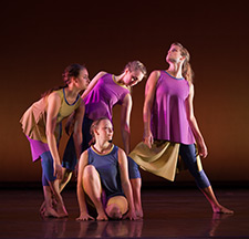 Pictured in the 2012 Spring Appalachian Dance Ensemble are, left to right, students Tessa Gossett, Cassandra Steffen, Caroline Daniel and Anna Huffman. (Photo by Greg Williams)