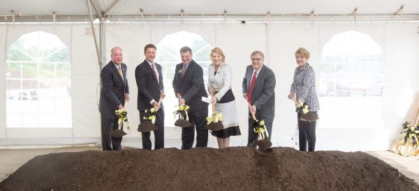 University, health care and state officials ceremoniously break ground on the new health sciences building at Appalachian State University. Pictured left to right are Richard Sparks, president and CEO of Appalachian Regional Healthcare System; Andrew T. Heath, budget director for the State of North Carolina; Frederick K. Whitt, founding dean of the Beaver College of Health Sciences; Chancellor Sheri N. Everts; Donald C. Beaver, Appalachian State University Board of Trustees member; and Vickie Beaver.