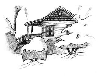 Line drawing of Diane's home by Levi Walton.