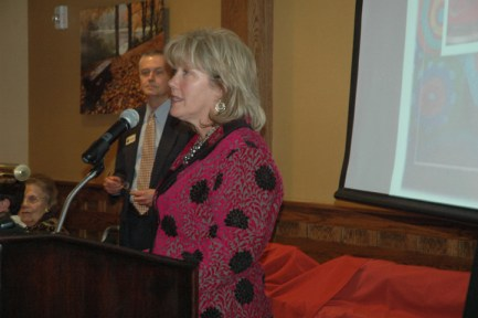 President of the Board Cathy Robbins speaks about collaboration in the coming year to open the ceremony