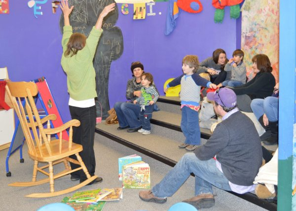 Local families enjoy story time at the Watauga Library.