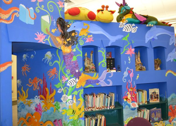 The children's section at the Watauga Library features this exciting display, which plays host to the daily story time readings.