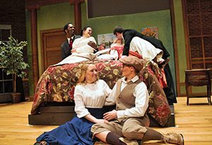 """Mozart's comic opera """"The Marriage of Figaro"""" is being performed by the Appalachian Opera Theater at Appalachian State University. Among the singers are Rachel Coffer, seated left, and Sarah Cave, and Quentin Lee, top left, Sarah Swann, Mary Royall Hight and Jacob Cook. Photo by Ashlynn Doyle"""