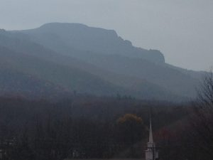 Drift smoke makes for a hazy view of Grandfather Mountain on Tuesday. Photo by Ken Ketchie
