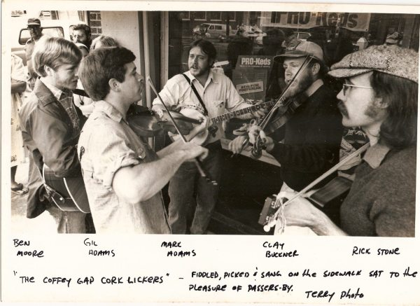 The band plays a show on King Street in downtown Boone around 1976.