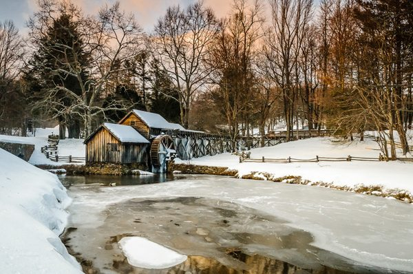 """""""Winter's Eve at the Mill"""" by Sharon Canter"""