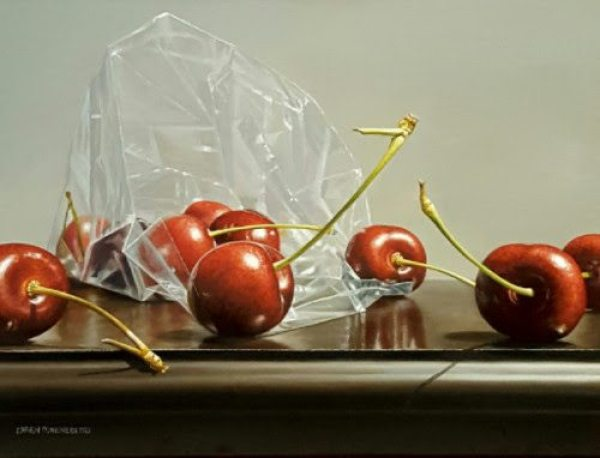 BAG OF CHERRIES Loren DiBenedetto oil on linen