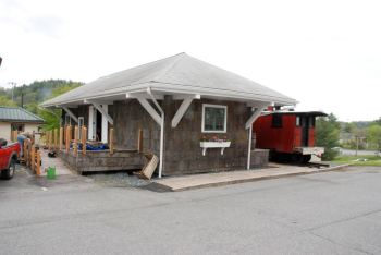The restored Linville River Depot, which now sits in Newland at the Avery County Historical Museum. Photo by Ken Ketchie.-11