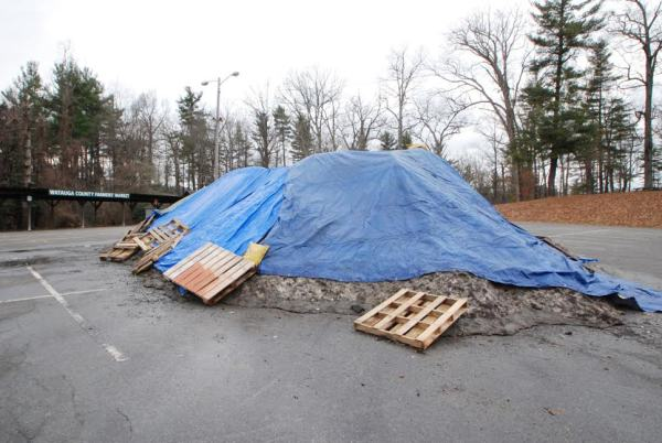 A giant mound of snow from the recent snow storm waits for use at the Daniel Boone Rail Jam.