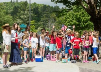 Students from Blowing Rock Elementary participate in the town's Memorial Day ceremony and festivities in 2015. Photo by Lonnie Webster.
