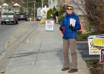 A local Democrat works the polls on Election Day. Photo by Lonnie Webster