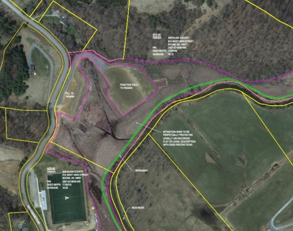The mitigation bank is proposed in the pink area.