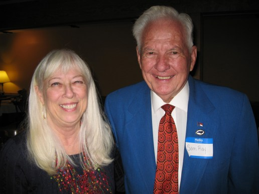 """Nancy Morrison (left) was named """"Woman of the Year"""" and Sam Ray received a """"Lifetime Achievement Award"""" at the annual Avery County Chamber of Commerce banquet."""