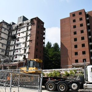 Demolition Work Continues at Coltrane and Gardner Residence Halls on App State's Campus; Area Will Become a Parking Lot