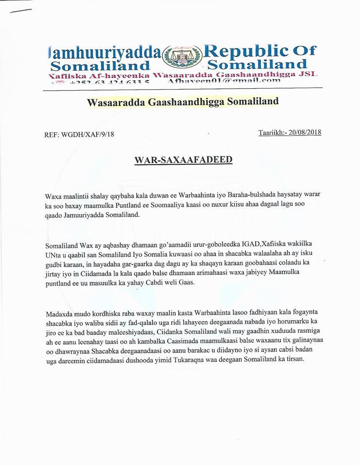 Somaliland Oo Ka Jawaabtey Hadalkii Shalay Ee Puntland