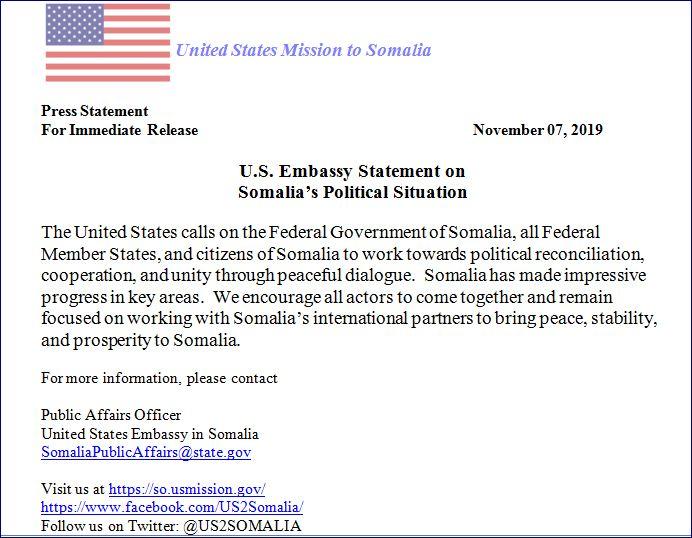 Maraykanka Oo Baaq U Diray Dawladda Federaalka Iyo Maamulada Somalia