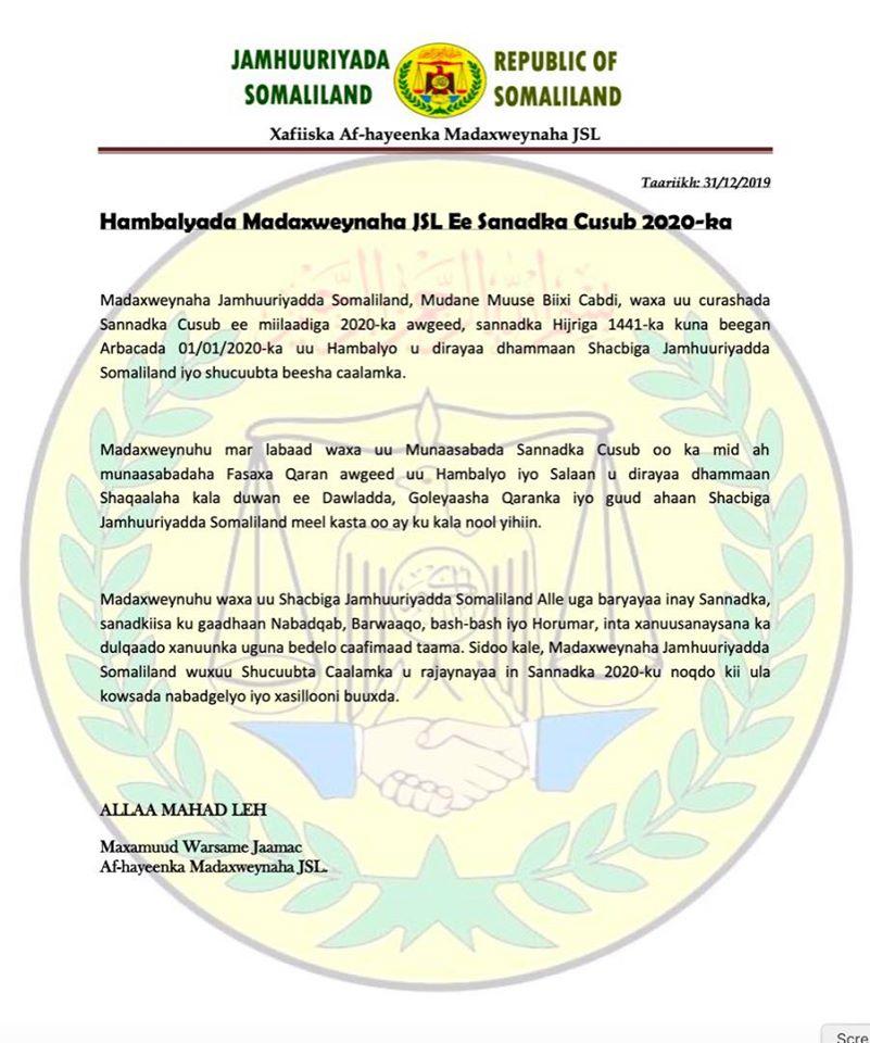 Madaxweyne Biixi Oo Shacabka Somaliland Ugu Hambalyeeyey Curashada Sannadka Cusub Ee 2020
