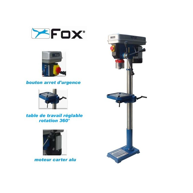 perceuse a colonne fox f12 943a 460w mandrin 16 mm hd outillage