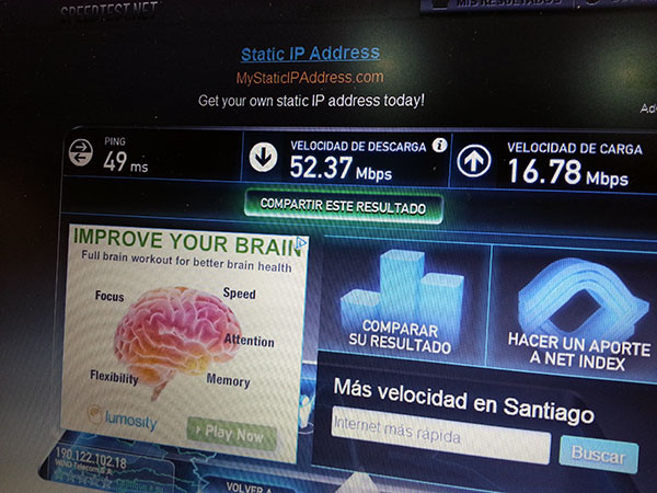 Uno de las pruebas de velocidad realizas utilizando speedtest.net