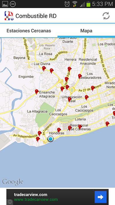 Mapa de estaciones cercanas a nuestra ubicación
