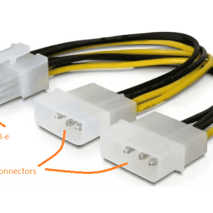8-pin (white) 12v EPS ATX Motherboard Connector to 2 x Molex Power Converter Cable (Used on older power supplies to newer motherboards)