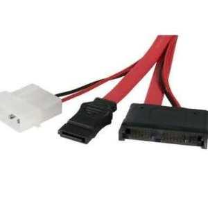 50cm Male Slimline-SATA & Power to SATA Data Cable & Molex Female Power Adapter Cable