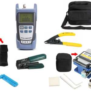 12-in-1 Professional Fiber Optic (FTTH) Toolkit : Precision Fiber Cleaver, Fiber Drop Cable Strippers, Cleaning Material, Visual Fault Locator & Fiber Power Meter Tester