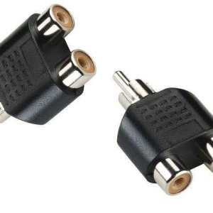 RCA Audio / Video Splitter Adapter (Y-Splitter) (RCA Male to 2 RCA Female)