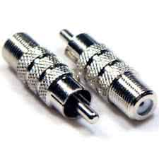 Female FType Connector to RCA Male Adaptor - Nickel Plated