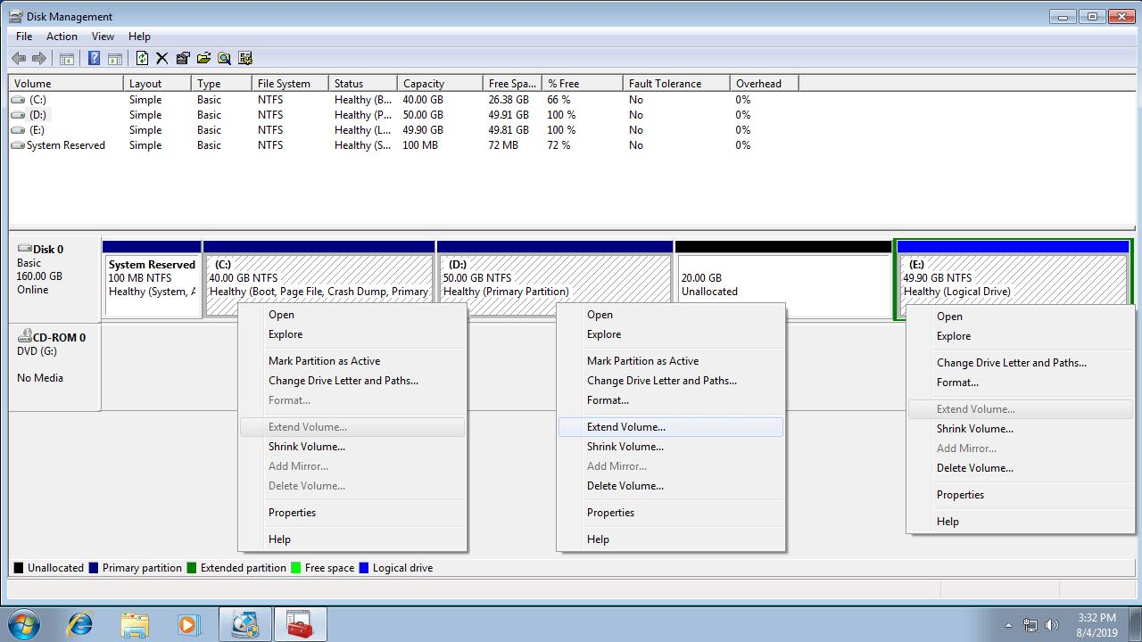 Windows 7磁碟管理-本地免費磁盤分區工具。