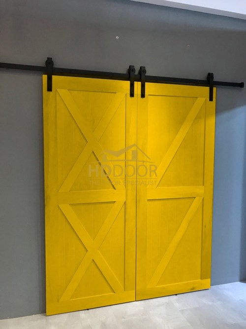 Double Sliding Barn Door with Sliding Roller Track