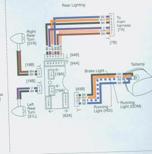 What colors mean what on the Wiring harness to the rear