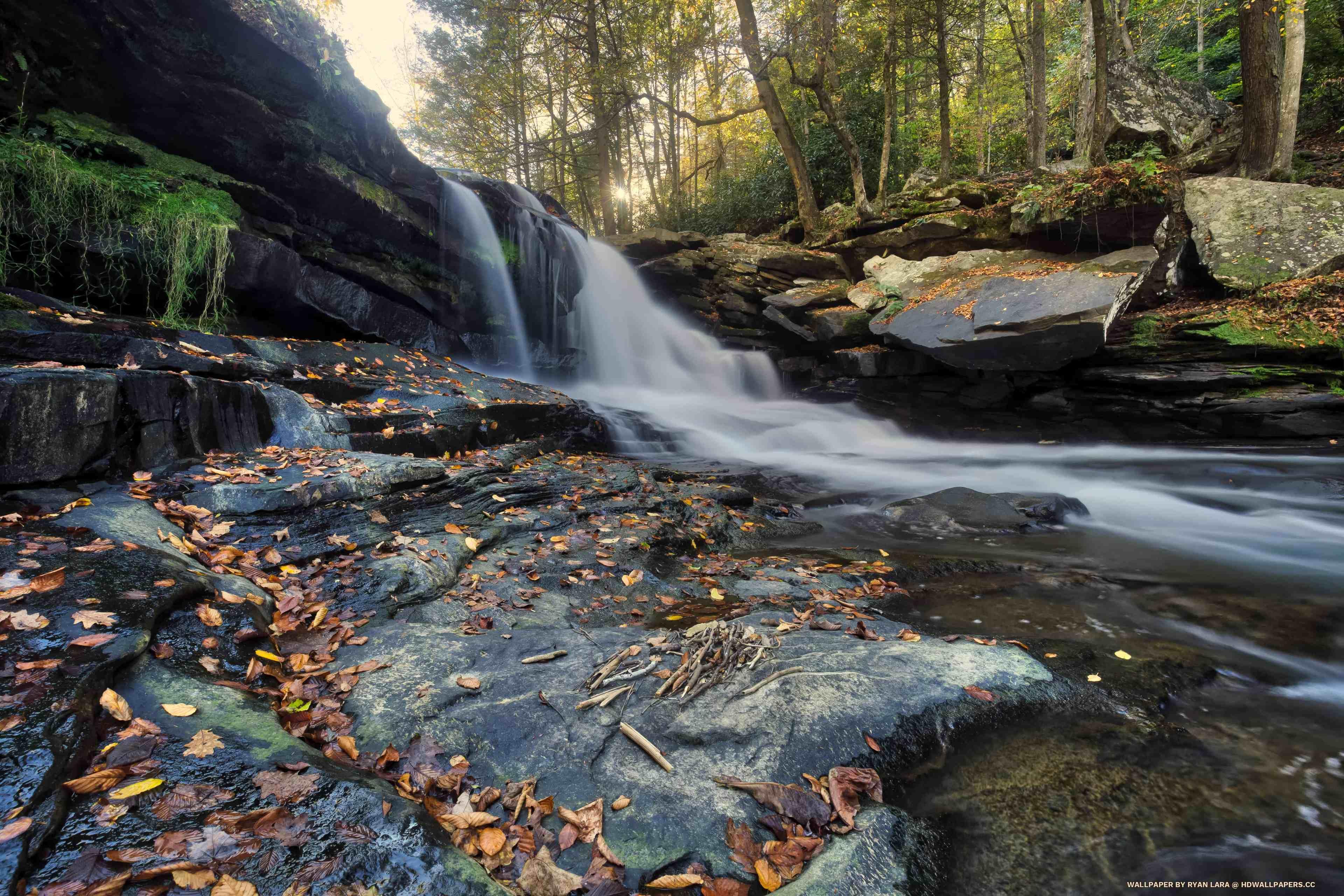 Autumn Waterfall Hd Wallpapers
