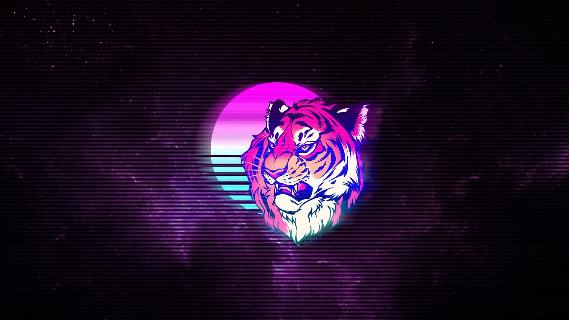 Tiger Retro Neon Art Wallpapers Hd Wallpapers Id 29165