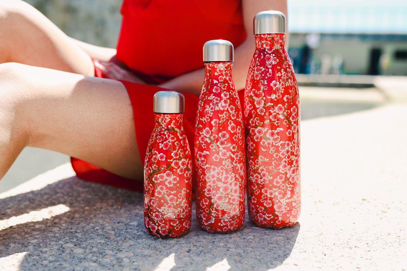 gourdes isothermes qwetch fleurs rouges