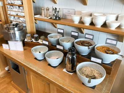 Review British Airways Terraces lounge newcastle breakfast cereals
