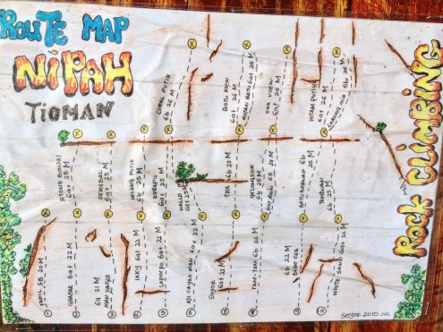 Topo and Route Description for rock climbing in Nipah on Tioman Island