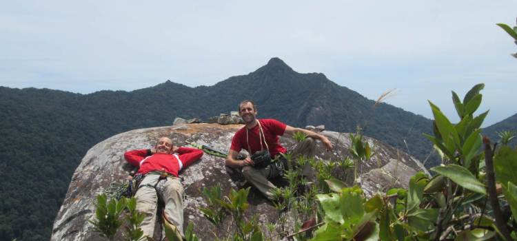 Stephane and David at the top of Waking Dream - Tioman Dragon's Horns